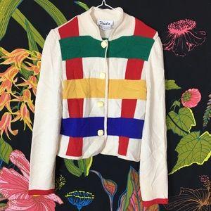 VINTAGE / Color Block Button Up Sweater